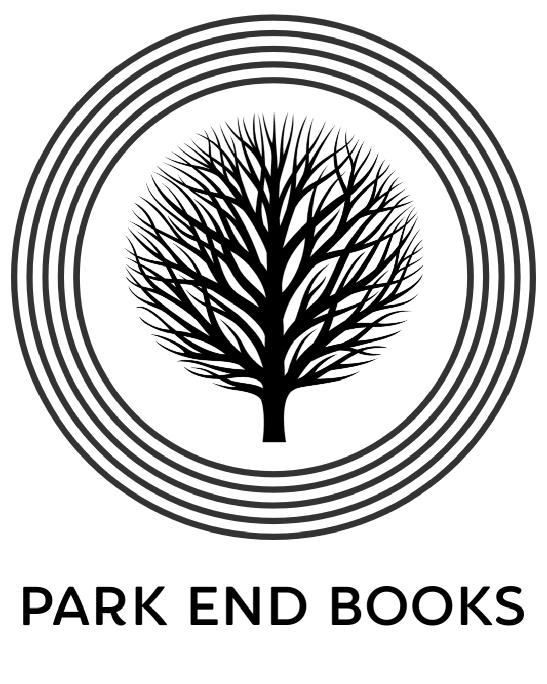 rounded leafless tree in the center of four concentric circles above text PARK END BOOKS